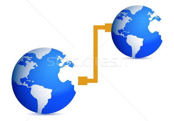 Conexão ilustração projeto branco globo mundo Foto stock © alexmillos