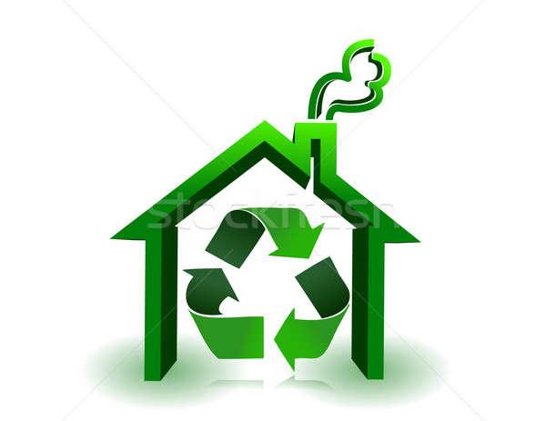 теплица Recycle знак белый дизайна зеленый Сток-фото © alexmillos