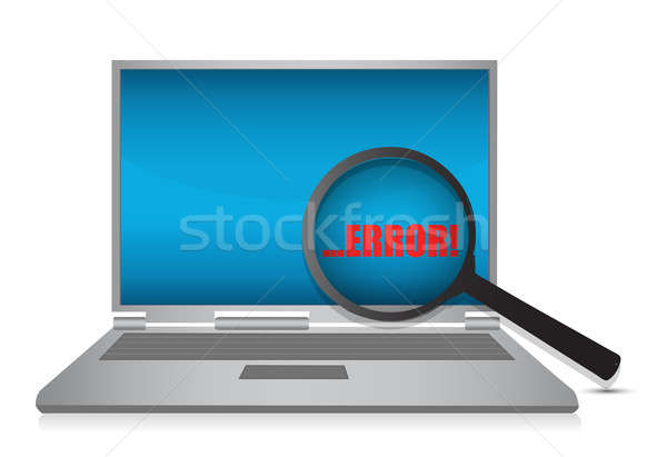 illustration of laptop and magnify glass,debugging code concept Stock photo © alexmillos