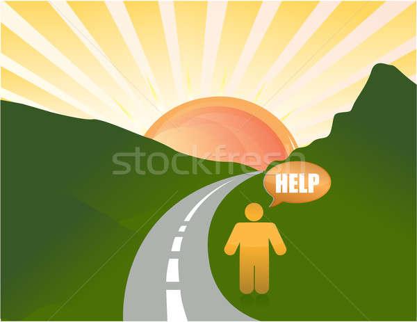 Man verloren weg illustratie kunst helpen Stockfoto © alexmillos