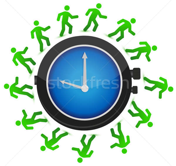 group of people running around the clock illustration design Stock photo © alexmillos