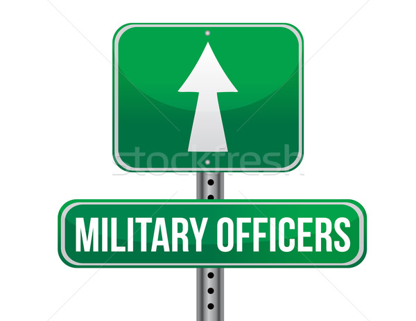 military officers road sign illustration design over a white bac Stock photo © alexmillos