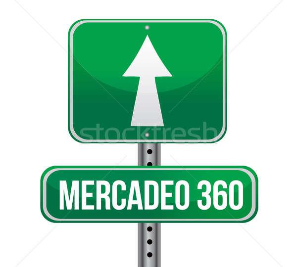 Marketing espanhol placa sinalizadora ilustração projeto estrada Foto stock © alexmillos