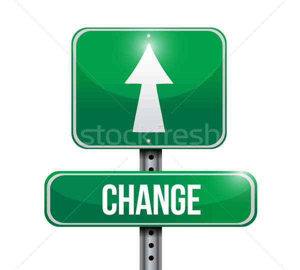 Change road sign illustration design over a white background Stock photo © alexmillos