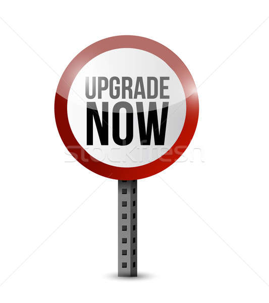 upgrade now road sign illustration design over white Stock photo © alexmillos
