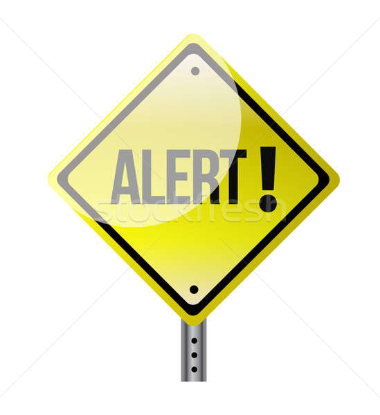 road sign with alert text illustration design over white Stock photo © alexmillos