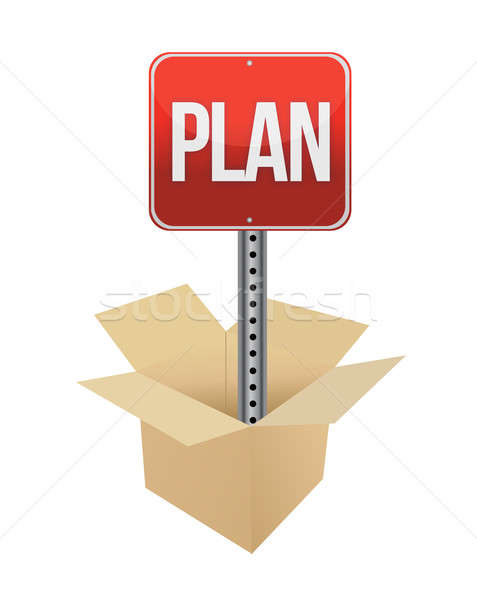 Plan road sign and box illustration design over a white backgrou Stock photo © alexmillos