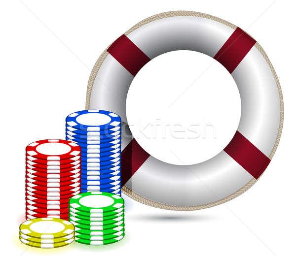 Stockfoto: Sos · chips · illustratie · ontwerp · witte · poker