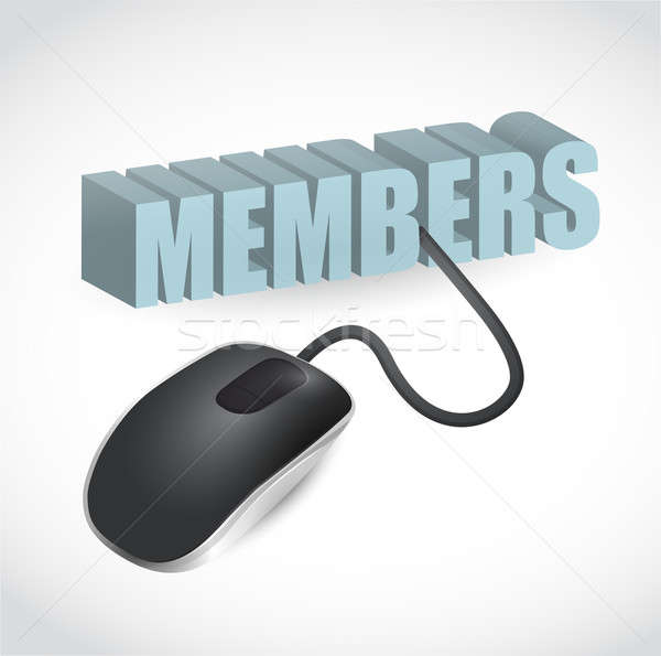 members sign connected to mouse illustration design over white Stock photo © alexmillos