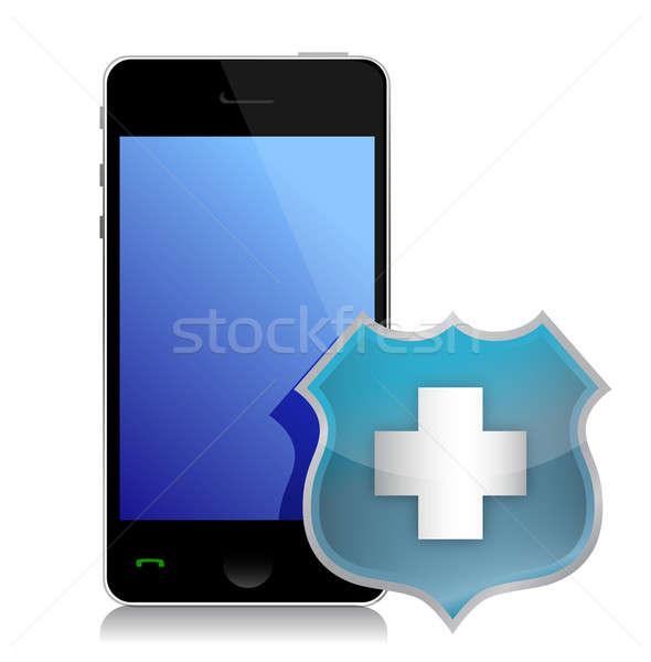 Phone protected by a shield of security illustration design Stock photo © alexmillos