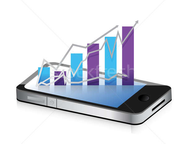 Business phone. Smartphone business graph chart on a white backg Stock photo © alexmillos