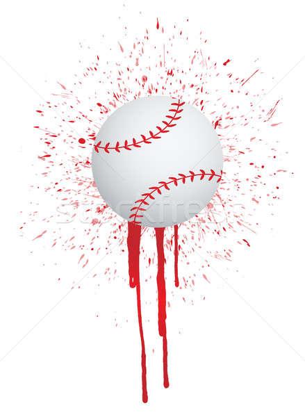 Inkt splatter baseball ontwerp bal cool Stockfoto © alexmillos