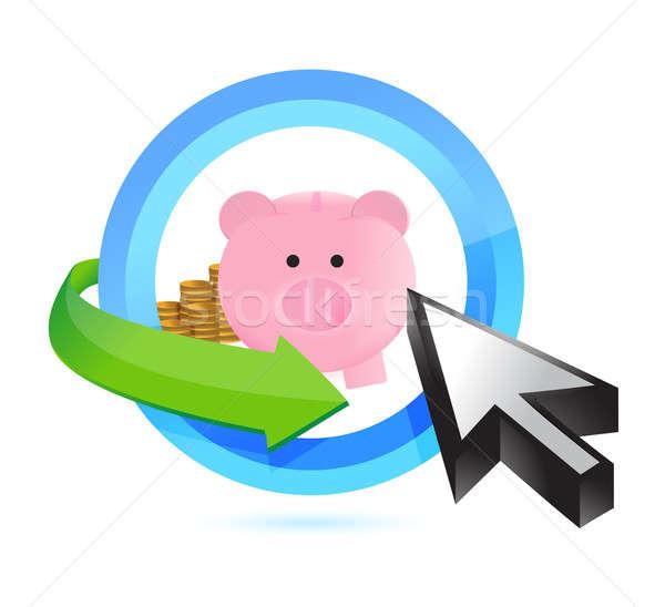 Kiválaszt megtakarított pénz üzlet pénz disznó vicces Stock fotó © alexmillos