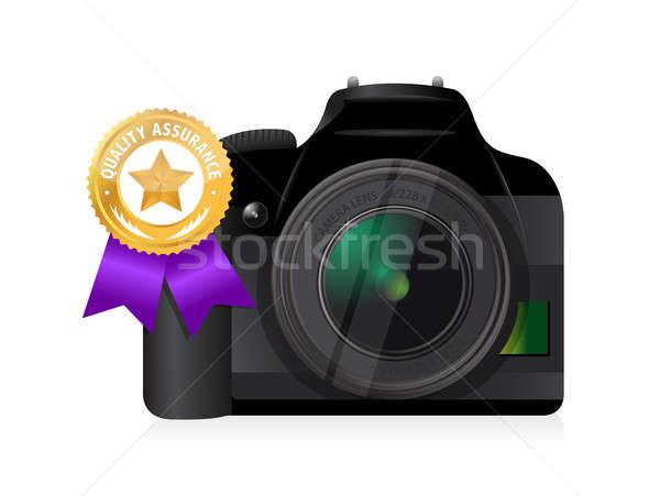 camera quality gold ribbon illustration design over a white back Stock photo © alexmillos