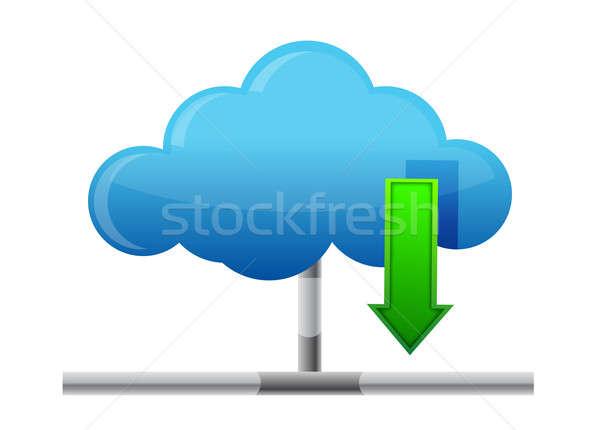 Cloud download icon Stock photo © alexmillos