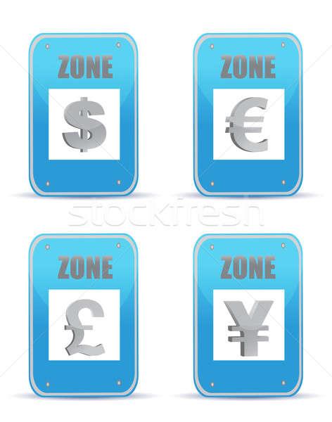 Currency zones symbol illustration design signs Stock photo © alexmillos