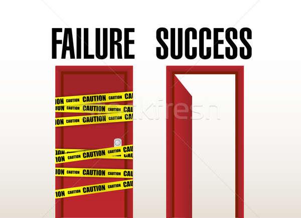 Fracaso éxito puertas ilustración diseno negocios Foto stock © alexmillos
