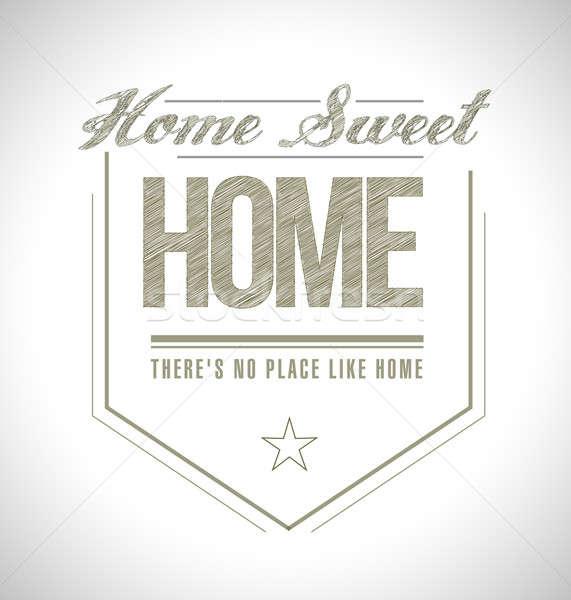 Ev güzel evim mühürlemek örnek dizayn beyaz tatlı Stok fotoğraf © alexmillos