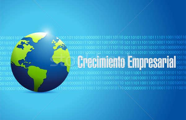 Negocios crecimiento binario mundo signo espanol Foto stock © alexmillos