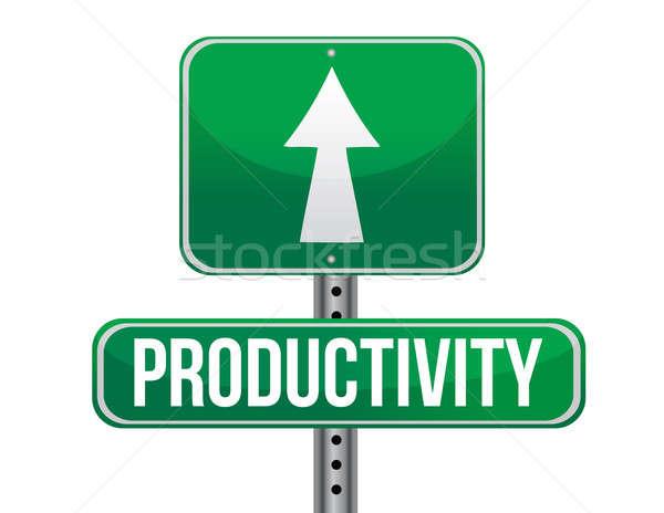 Produktiviteit verkeersbord illustratie ontwerp witte groene Stockfoto © alexmillos