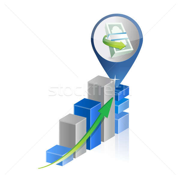 Foto stock: Financeiro · gráfico · de · negócio · ilustração · projeto · branco · negócio