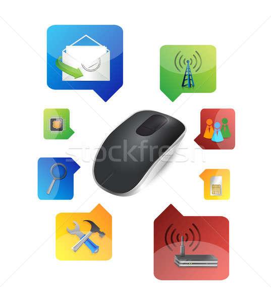 Seçenek kablosuz bilgisayar fare yalıtılmış beyaz bilgisayar Stok fotoğraf © alexmillos