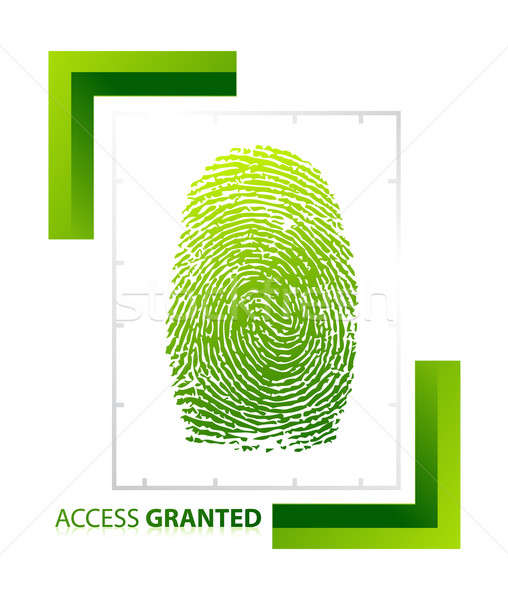 illustration of access granted sign with thumb on isolated backg Stock photo © alexmillos