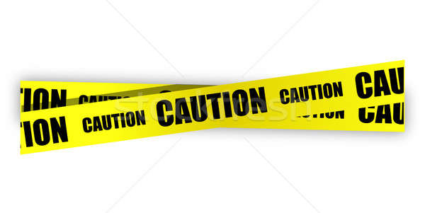 yellow caution tape illustration design over white Stock photo © alexmillos