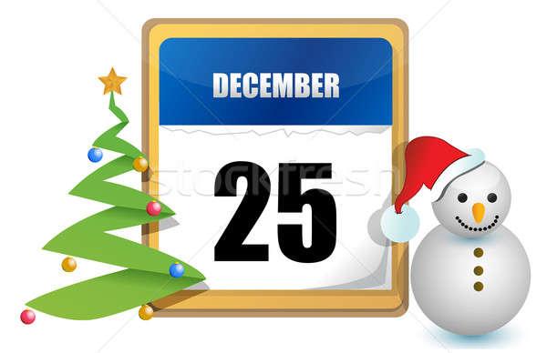 december 25 calendar tree and snowman illustration design Stock photo © alexmillos