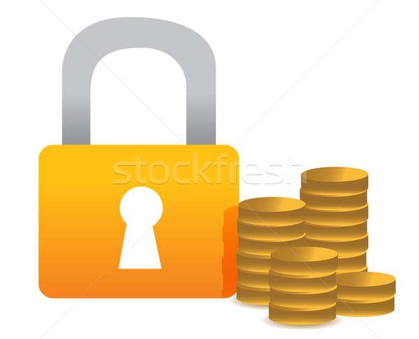 заблокированный деньги иллюстрация дизайна белый бизнеса Сток-фото © alexmillos