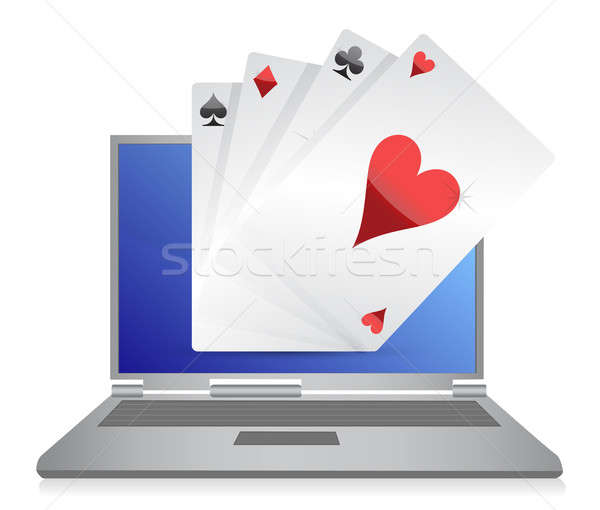 online gambling cards game illustration design on white Stock photo © alexmillos