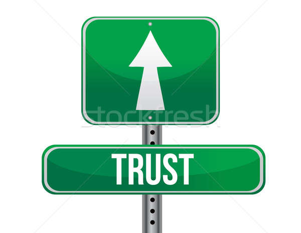 trust road sign illustration design over a white background Stock photo © alexmillos