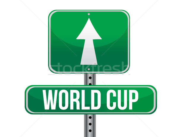 world cup road sign illustration design over a white background Stock photo © alexmillos