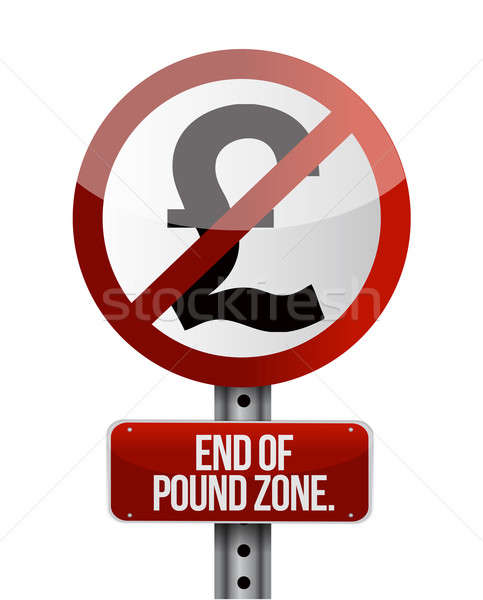 road traffic sign with a British pound zone end concept Stock photo © alexmillos