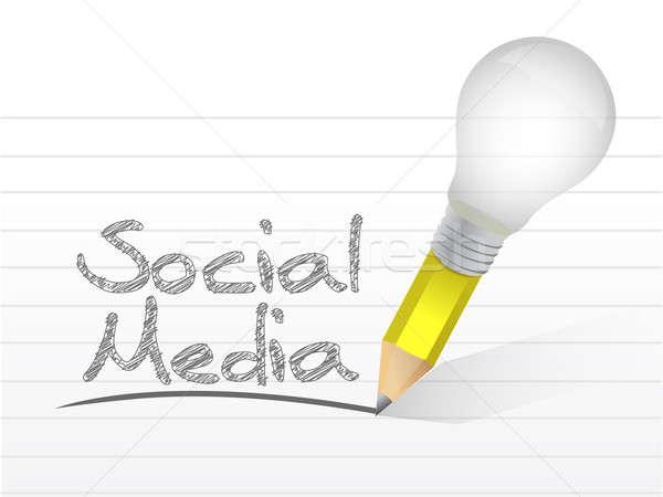 social media message written with a light bulb pencil. illustrat Stock photo © alexmillos