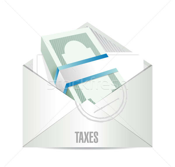 Stock photo: dollar bills taxes mail illustration design over white