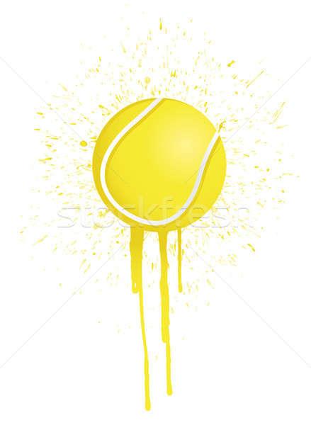 Inkt splatter tennis illustratie ontwerp witte Stockfoto © alexmillos