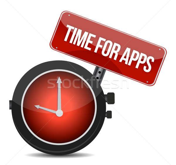 Clock 'Time for APPS' illustration design over white Stock photo © alexmillos
