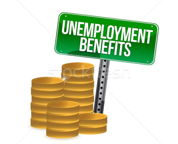 unemployment benefits coins illustration design over white Stock photo © alexmillos