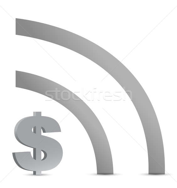 dollar wifi connection sign illustration design over white Stock photo © alexmillos