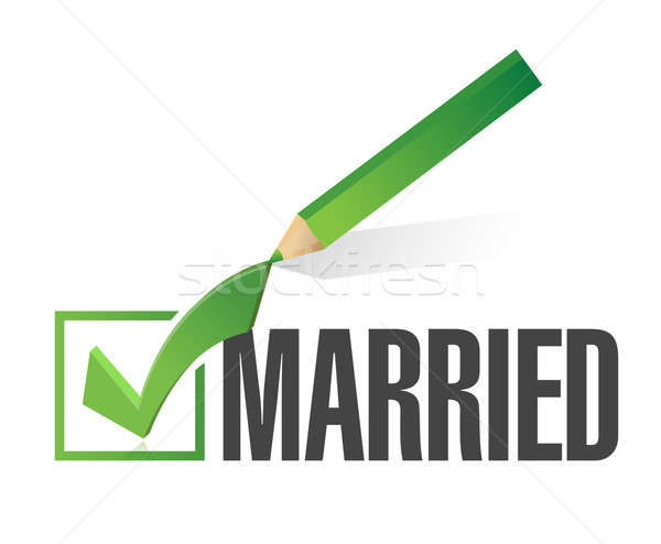 Stock photo: selected married with check mark. illustration design over white