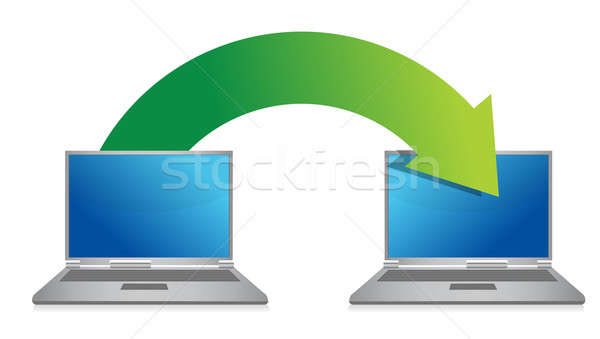 transferring files from laptop illustration design over a white  Stock photo © alexmillos