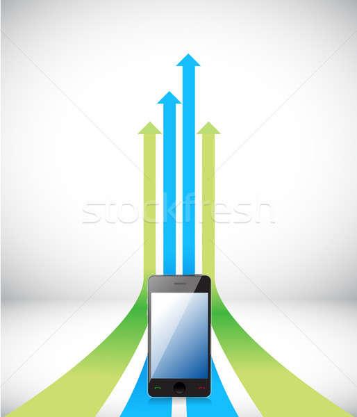 phone Arrow rising toward same direction success concept illustr Stock photo © alexmillos