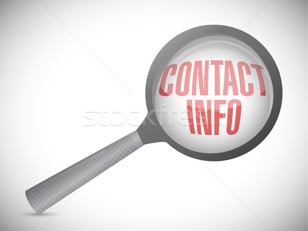 Magnifying glass showing contact info word on white background Stock photo © alexmillos