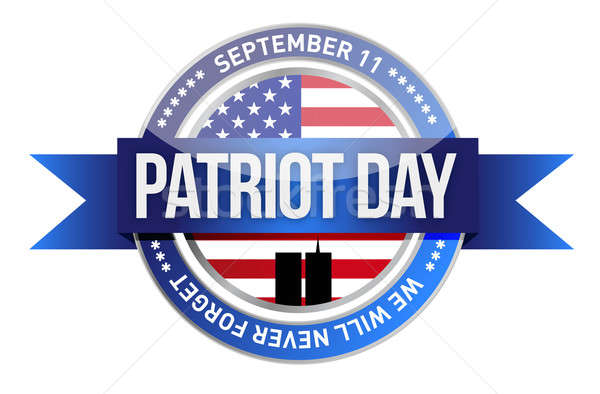 patriot day. us seal and banner illustration design Stock photo © alexmillos