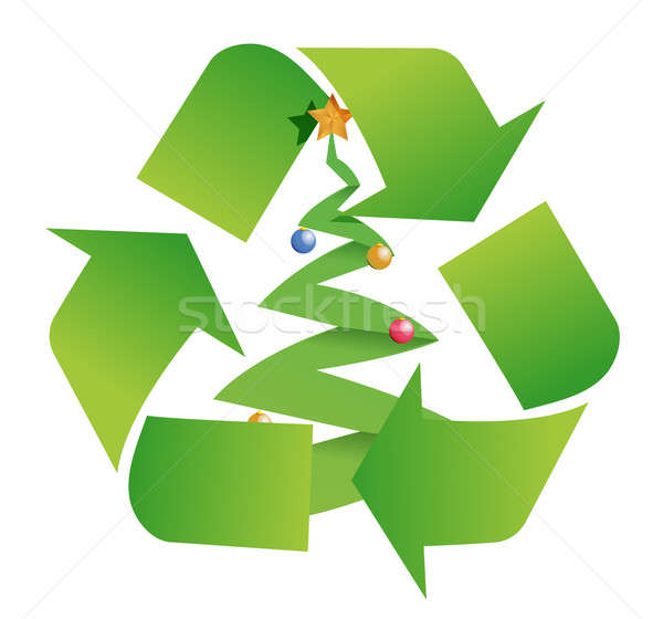 recycle tree illustration design over a white background Stock photo © alexmillos