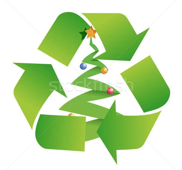 Recycleren boom illustratie ontwerp witte groene Stockfoto © alexmillos