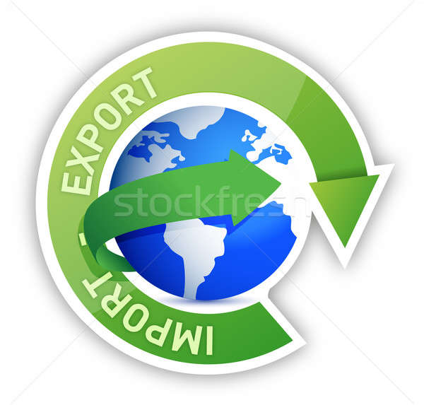 Export and import globe cycle illustration  Stock photo © alexmillos