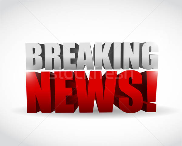 Stock photo: Breaking news sign. illustration design