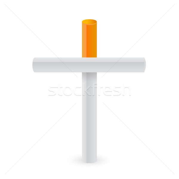 Cigarettes cross. Smoking kills metaphor illustration design Stock photo © alexmillos
